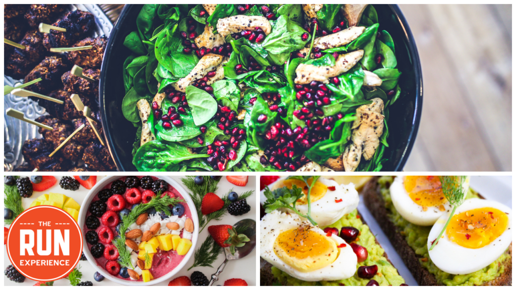 salad, fruits, and eggs